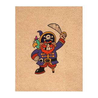 Pirata del dibujo animado con la pierna y la papel de corcho para fotos