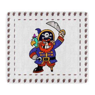 Pirata del dibujo animado con la pierna y la tablas para cortar