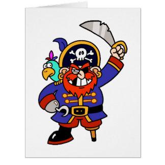 Pirata del dibujo animado con la pierna y la tarjeton
