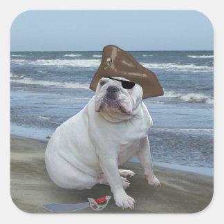 Pirata del dogo calcomanías cuadradass personalizadas