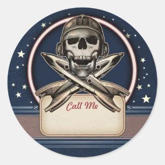 Pirata del espacio con los pegatinas conocidos de pegatina redonda