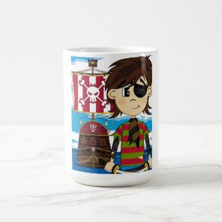 Pirata del Eyepatch y taza de café lindos de la
