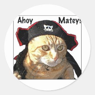 Pirata del gatito pegatina redonda