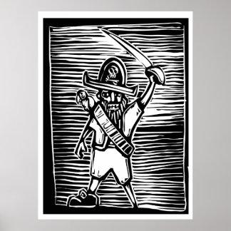 Pirata del grabar en madera poster