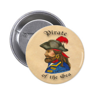 Pirata del mar pin redondo de 2 pulgadas