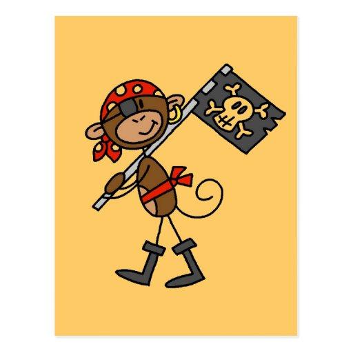 Pirata del mono con las camisetas y los regalos de postales