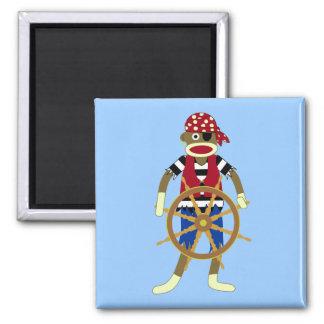 Pirata del mono del calcetín imán cuadrado