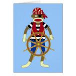 Pirata del mono del calcetín tarjeta
