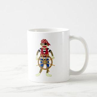 Pirata del mono del calcetín taza básica blanca