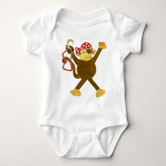 Pirata del mono que cae body para bebé