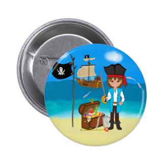 Pirata del muchacho con el botón del cofre del tes pin redondo de 2 pulgadas