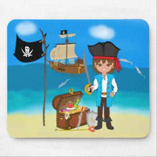 Pirata del muchacho con el cofre del tesoro Mousep Alfombrillas De Ratones