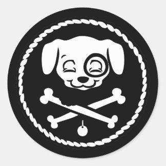 Pirata del perrito etiqueta redonda
