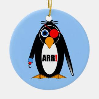 pirata del pingüino adorno navideño redondo de cerámica
