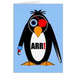 pirata del pingüino tarjeta de felicitación