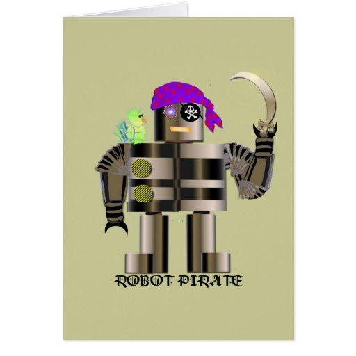 Pirata del robot tarjeta de felicitación