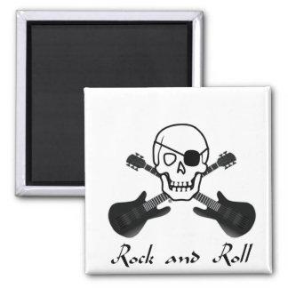Pirata del rock-and-roll imán cuadrado