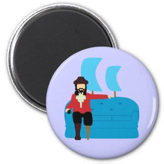 Pirata del sofá imán redondo 5 cm