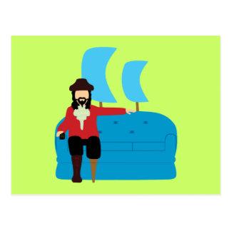 Pirata del sofá tarjetas postales