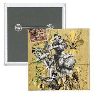 Pirata del steampunk del vintage pin cuadrada 5 cm