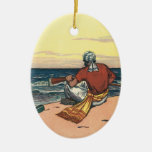 Pirata del vintage abandonado en una isla abandona ornamento para arbol de navidad