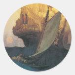 Pirata del vintage, ataque contra un Galleon de Pegatina Redonda