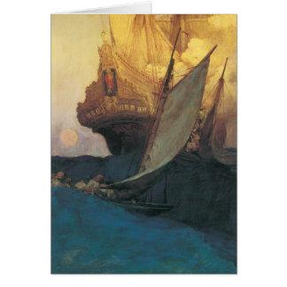 Pirata del vintage, ataque contra un Galleon de Tarjeta De Felicitación