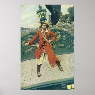 Pirata del vintage, capitán Keitt de Howard Pyle Póster