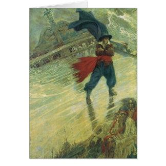Pirata del vintage, el holandés errante de Howard Tarjeta De Felicitación