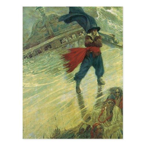 Pirata del vintage, el holandés errante de Howard Tarjeta Postal