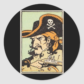 Pirata del vintage pegatina redonda