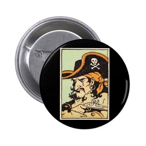 Pirata del vintage pin redondo de 2 pulgadas