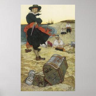 Pirata del vintage, William Kidd que entierra el Póster