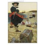 Pirata del vintage, William Kidd que entierra el Tarjeta