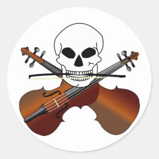Pirata del violín pegatina redonda
