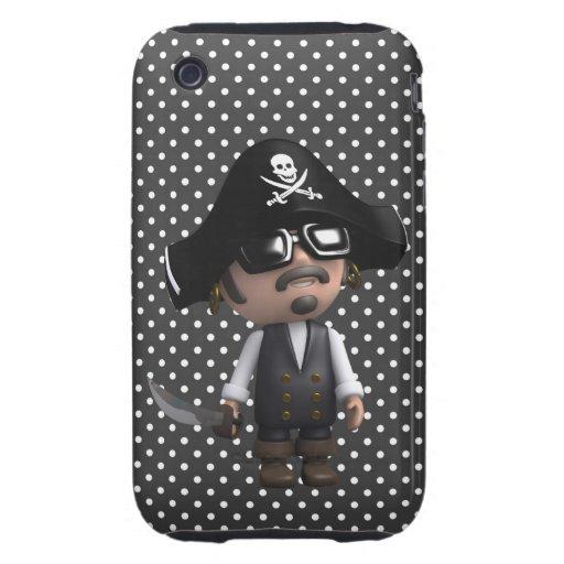 Pirata divertido 3d en las gafas de sol (editable) tough iPhone 3 carcasas