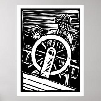 Pirata en el timón poster