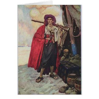 Pirata en la playa tarjeta de felicitación