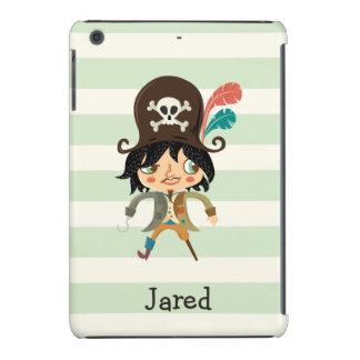 Pirata en rayas verdes en colores pastel funda de iPad mini