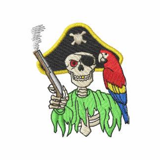 Pirata esquelético camiseta polo bordada