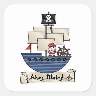 ¡Pirata esquelético del cráneo del barco pirata el Pegatinas Cuadradases Personalizadas