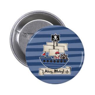 ¡Pirata esquelético del cráneo del barco pirata el Pin Redondo De 2 Pulgadas