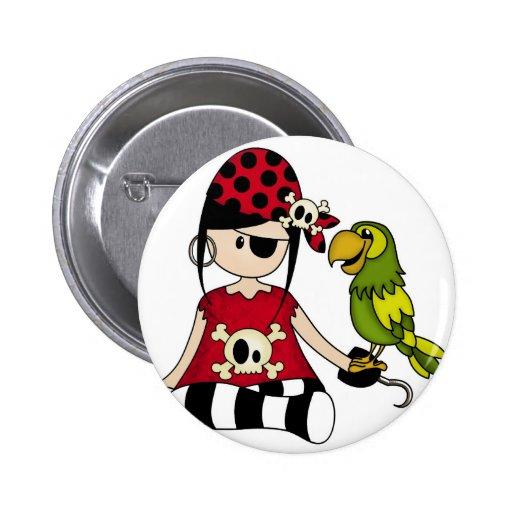 Pirata femenino con su loro pin redondo 5 cm