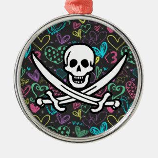 Pirata femenino; Corazones de la tiza, coloridos Adornos De Navidad
