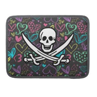 Pirata femenino; Corazones de la tiza, coloridos Funda Para Macbook Pro
