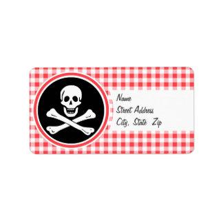 Pirata; Guinga roja y blanca Etiquetas De Dirección