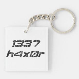 Pirata informático 1337 de ordenador de Leet Haxor Llavero Cuadrado Acrílico A Doble Cara