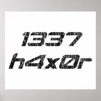 Pirata informático 1337 de ordenador de Leet Haxor Póster