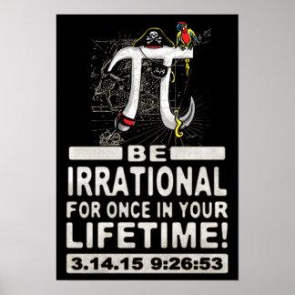 Pirata irracional del día del pi póster