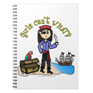 Pirata ligero del chica libros de apuntes